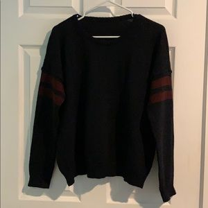 Navy blue and burgundy knit sweater